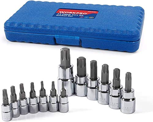 WORKPRO 13-piece Torx Bit Socket Set T8-T60, S2 Steel(For Hand Use Only)