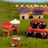 KWOSJYAL 9Pcs / Set Vino, Tazón, Pajar, Cubo De Madera, Chile, Ajo, Mini Estatuilla En Miniatura Tradicional China Decoración De Hadas De Jardín