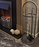 HomeZone 5PC Curved Modern Fireside Tool Set Arched Fireside Companion Set Fireplace Coal Fire Wood Burner Accessories Brush Shovel Tongs