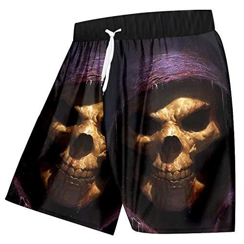 Kurze Hosen Herren Shorts 3D-Druck Schädel Shorts Boardshorts Homme Workout Übung Boxershorts Quick Dry Strandshorts Sommer Cool Grim-Purple_5XL