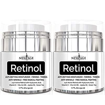 New Age Retinol Cream Neck and Décolleté Moisturizer Serum with Hyaluronic Acid and Vitamin E - Anti-Aging Formula Reduces Wrinkles and Fine Lines-Day and Night Cream New Age Retinol 1.7 Fl Oz - 2 Pack