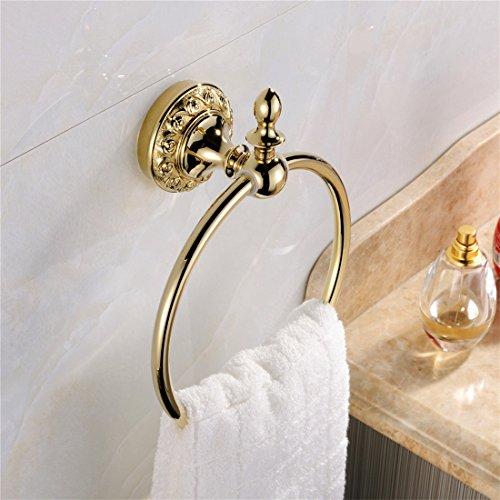 BigBig Home Handtuchhalter Gold aus Messing, Handtuchring Modern mit Wandmontage für Badezimmer und Dusche, Handtuchring 17 cm