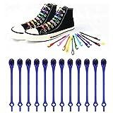 AESO 12pcs Lazy Elastic Shoelaces, Silicone Tie-Free Round Shoe Laces (Royal Blue)