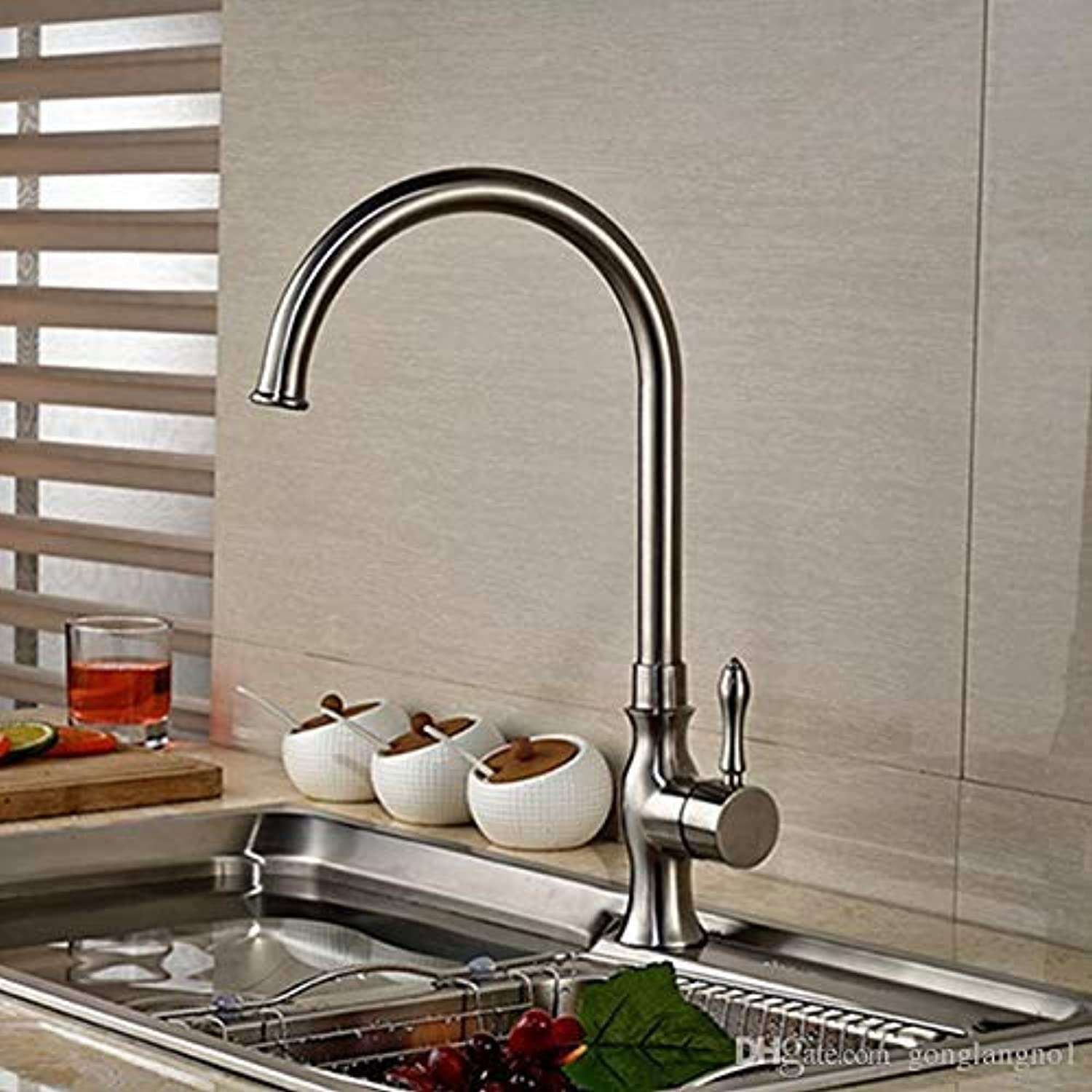 Oudan Wholesale and Retail Elegant Brushed Nickel Swivel Spout Kitchen Faucet Single Handle Hole Vessel Basin Mixer Tap Hot and Cold (color   -, Size   -)
