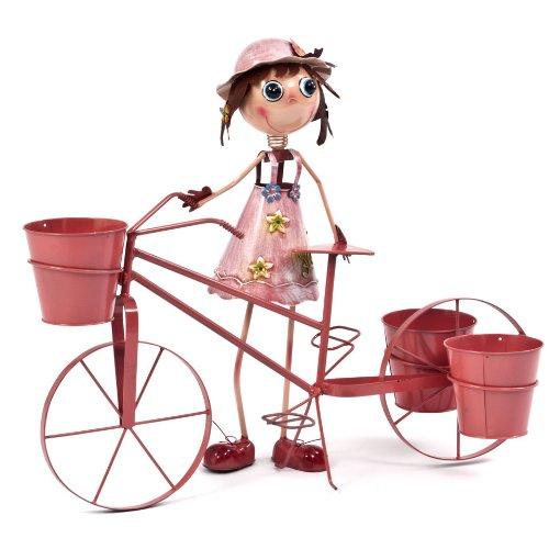 Transcontinental Group Support à Pots de Fleurs en métal en Forme de Fille avec Bicyclette