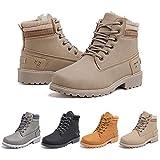 Botas Mujer Invierno Botines Nieve Zapatillas Trekking Calentitas Boots Cordones Zapatillas Planas AntideslizanteCasuales Caqui Talla 39 EU