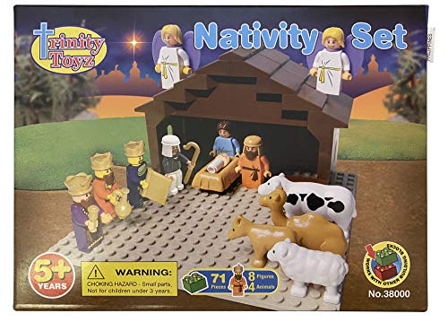 JWG Industries Nativity Scene Set Building Block Kit with 3-D Standing Cutout