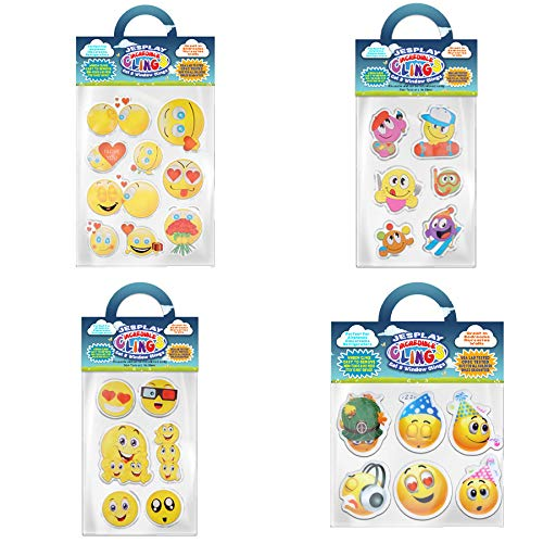 Funny Faces and Smiley Faces Bundle Removable Gel and Window Clings for Kids, Toddlers - Heart Eyes, Thumbs Up, Party, Smiley, LOL and More! - Incredible Gel Decals for Glass, Walls, Rooms, & Home