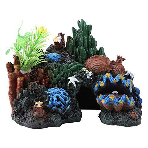 Pssopp Aquarium Dekoration Aquarium Ornament mit Höhle Bunte Kunstharz Korallenriff Höhle View Dekor Versteckt Höhlen Aquarium Dekoration, 13 x 8 x 9,5 cm