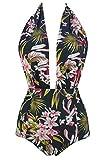 COCOSHIP Black & GreenYellow Pink Lush Curacao Floral Retro One Piece Backless Bather Swimsuit Pin Up Swimwear Beachwear L(FBA)
