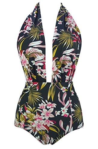COCOSHIP Black & GreenYellow Pink Lush Curacao Floral Retro One Piece Backless Bather Swimsuit Pin Up Swimwear Beachwear M(FBA)