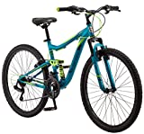 Mongoose Status 2.2 Womens Mountain Bike, 26-Inch Wheels, 21-Speed Shifters, Aluminum Frame, Dual Suspension, Teal