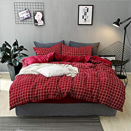 IRCATH dekbedovertrekset voor het hele jaar, dik katoen, 4-delige katoenen dekbedovertrek, driedelige set, rood