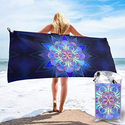 FLDONG Toalla de secado rápido rectangular con impresión de mandala, toalla de microfibra, ultra suave, compacta, adecuada para camping, gimnasio, playa, hogar, 81.5 x 163 cm