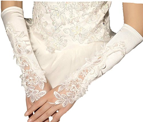 Brauthandschuhe fingerlos Braut Handschuhe Perlen Pailletten Hochzeit Weiß Ivory Stulpen Brautstulpen Hochzeitsstulpen (Ivory) - 2
