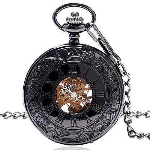 XVCHQIN Steam Punk Reloj de Bolsillo mecánico Antiguo Juego de Reloj de Bolsillo de Cuerda Manual Cadena Colgante Collar Cadena, C