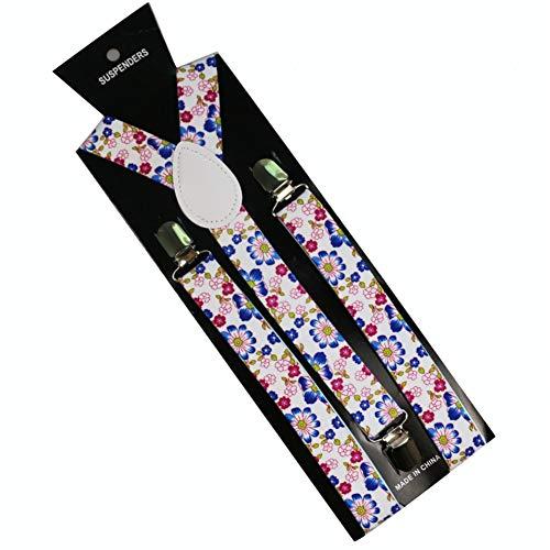 YMXBSBD Hosenträger Lila Rosa Blume Blumendruck Verstellbare Mens Womens Unisex Clip-On Hosenträger Unisex Elastische Y-Form Hosenträger
