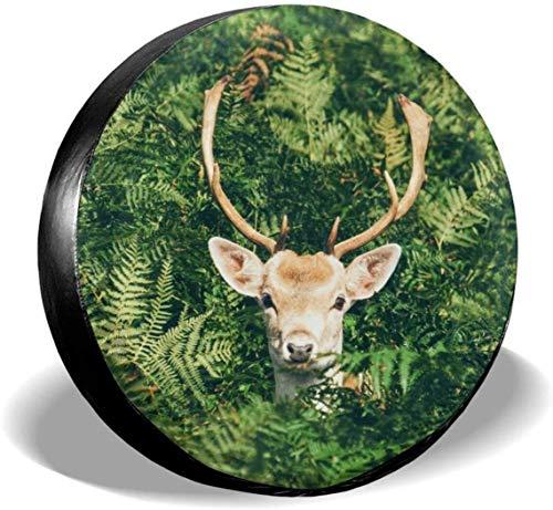 MODORSAN Animal Buck Deer Cubierta de neumático de Rueda de Repuesto de poliéster Cubiertas de Rueda universales para Jeep, Remolque, RV, SUV, camión, Accesorios, 17 Pulgadas