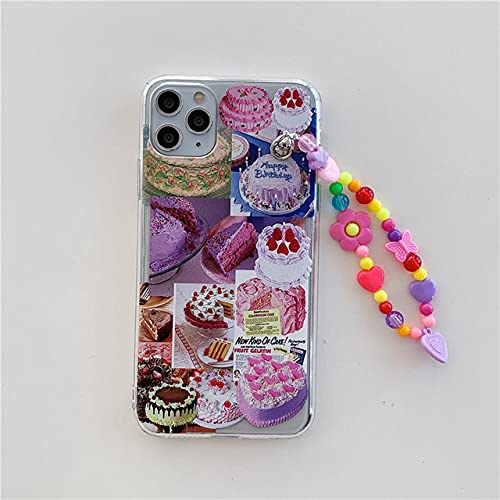 DEIOKL Pulsera de Flores de Colores Funda para teléfono con Cadena para iPhone 12 12Pro 11 11Pro X XR XS MAX 7 8Plus SE Funda Protectora de TPU Transparente Capa Protectora, b, para iPhone 11Pro MAX