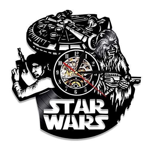 HQYMY Récord de Vinilo Reloj de Pared-Star Wars Series Wall Clock-Único Sala de Estar Dormitorio Dormitorio Colgando Adornos-Navidad Noche Decoración (Style : E)
