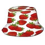 Sombrero de Pescador de Fruta Blanca Fresa Sombrero de Boonie Reversible con Estampado en 3D Gorra de Sol con Solapa Duradera Sombrero de Cubo Ligero y portátil Protección de Ojos Sombrero d