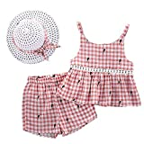 Baby Girls Clothes Set Ruffle Sleeve Floral Top T-Shirt with Wave Point Bloomer Shorts Headband 3pcs Outfits (Pink-d, 24-48 Months)