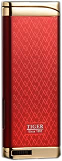 Refillable Blue Flame Adjustable Ultra-Thin Butane Viewable Windproof Cigar Cigarette Lighter Red