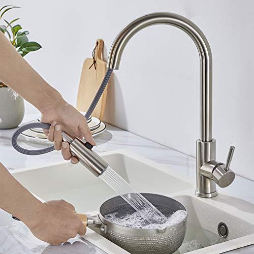WOOHSE 360° Drehbar Küchenarmatur mit brause, Einhebelmischer Spültischarmatur aus Edelstahl, Mischbatterie Armatur Küche Hochdruck für Küche