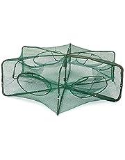 Lixada Opvouwbaar automatisch lokaas visnet Aalreuse, 6-hoekig met 6 openingen, voor het vangen van aas, kreeften, garnalen