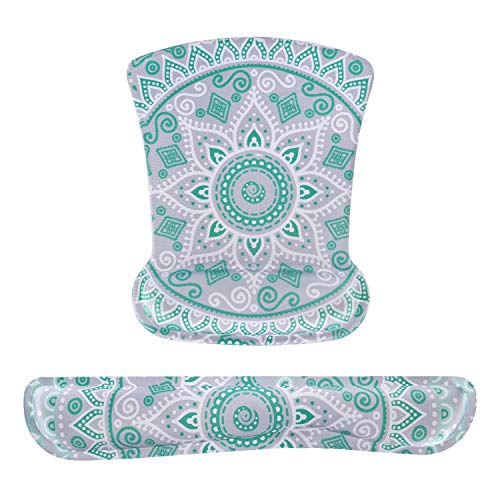 MOSISO Wrist Rest Support for Mouse Pad & Keyboard Set, Ergonomic Mousepad Non-Slip Rubber Base Home/Office Pain Relief & Easy Typing Cushion with Neoprene Cloth & Raised Memory Foam, Mint Mandala