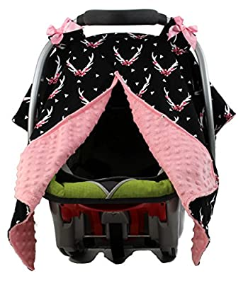 Dear Baby Gear Carseat Canopy, Antlers Floral on Black, Pink Minky