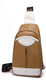Multifunctional Casual PU Leather Crossbody, Men and Ms Messenger Shoulder Bag Sling Bag Multipurpose Chest Bag Brown, Khaki, Blue, Black Size: 37 * 17 * 7CM (Color : Khaki)