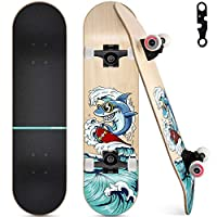 🛹Solid & Durable: The board is 10mm thick and made of 7 layers of Canadian maple, maximum load weight up to 220 pounds, equipped with 5'' aluminum alloy trucks. Reliable for beginner and skilled 🛹Smooth & Speedy: Super smooth (52mm,95A)High rebound P...
