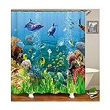 MaxAst Fisch Duschvorhang Anti Schimmel, Bunten Badewanne Vorhang 180x200CM, Antibakteriell Wasserdicht mit Kunststoff Ringe Kein Rost