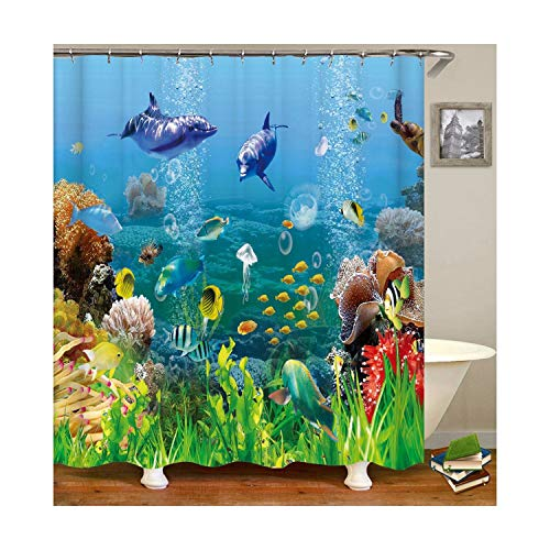 MaxAst Fisch Duschvorhang Anti Schimmel, Bunten Badewanne Vorhang 90x180CM, Antibakteriell Wasserdicht mit Kunststoff Ringe Kein Rost