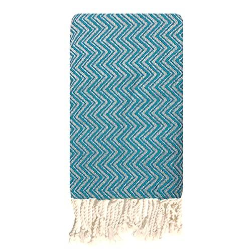 Traditions Med Fouta tunecina de algodón, 1 x 2 m, jacquard, azul, Talla única