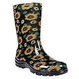 Asgard Women's Mid Calf Rain Boots Short Waterproof Garden Shoes Sunflowers 39