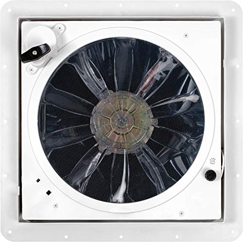 Fan-Tastic Vent RV Roof Vent with Thermostat and Rain Sensor, Manual and Automatic Speeds 12 Volt RV Vent Fan, Smoke Dome RV Vent Cover - Model 7350 - White