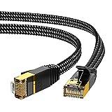 Cable Ethernet Cat 7 2m, KINBETA Cable Ethernet de Red de Internet Cat7 de Alta Velocidad Gigabit Lan Rj45 Trenzado Plano Patch Cord Blindado para Xbox PS3 PS4 PC Ordenador Portátil Enrutador TV