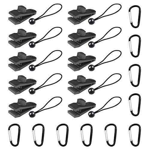 Clips de lona, resistente con cierre de tornillo para el pulgar, clip para tienda de campaña con cuerdas elásticas de bola y bloqueo de anillo en D para sostener..