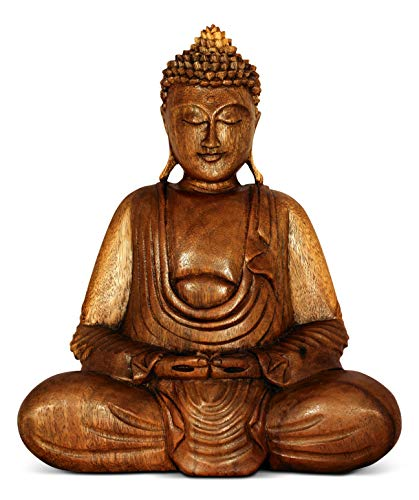 G6 COLLECTION Wooden Serene Sitting Buddha Statue Handmade Meditating Sculpture Wood Figurine Decorative Accent Handcrafted Traditional Modern Contemporary Oriental Decor Hands In Lap Buddha (8' Tall)