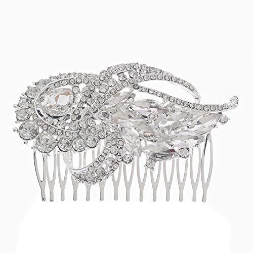 Outflower. 1Pcs Peigne Femmes Bridal Clear Crystal Rhinestone Clips de Cheveux Accessoires pour Cheveux Jewelry Hairpins Taille 9cmx6cm