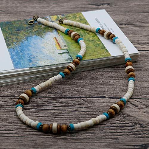 Boho Men Beaded Choker Necklace Tribal Jewelry White Coconut Shell Surfer Necklace For Men Best Friend Gift