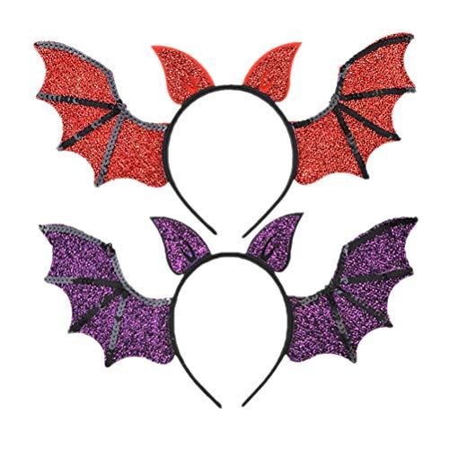FRCOLOR 2 Piezas Diadema de Ala de Murciélago Diadema de Brillo de Halloween Vestido de Murciélago con Alas Diadema para Fiesta de Halloween Disfraz de Cosplay