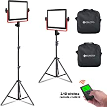 GEEKOTO LED Panel Light, 2 Pack 320 LED Video Light with LCD Display, Dimmable Bi-Color 3300-5600K Video Light and Stand for YouTube Studio Photography Video Shooting