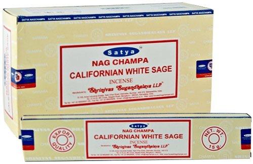 3x salvia blanca Californiana paquetes de Satya Nag Champa varillas de incienso-15G...