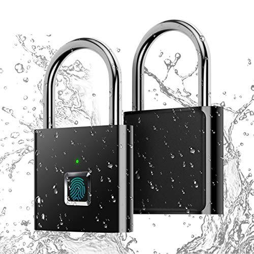 Fingerprint Padlock,AICase IP65 Waterproof Ultra Light One Touch Open Fingerprint Lock with USB Charging for Gym, Sports, School Employee Locker,Fence, Suitcase,Bike No App, No Bluetooth,No Trouble