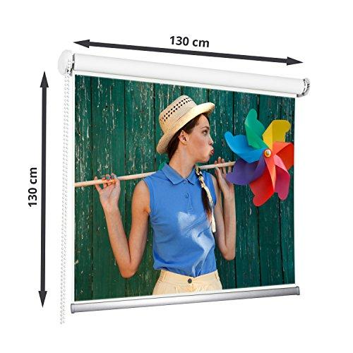 130 x 130 cm Rolleinwand Beamerleinwand Beamer Heimkino Projektionsleinwand 1:1