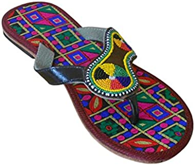 Kalra Creations Women Slippers Traditional Indian Leather Slip-On Ethnic Flats