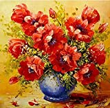 Pintar Por Numeros Adultos Niños Principiantes, Flor Roja Diy Pintura Por Números Pint Con 3 Pinceles Y Pinturas Acrílica Decoraciones Kit Para El Hogar 40 X 50Cm